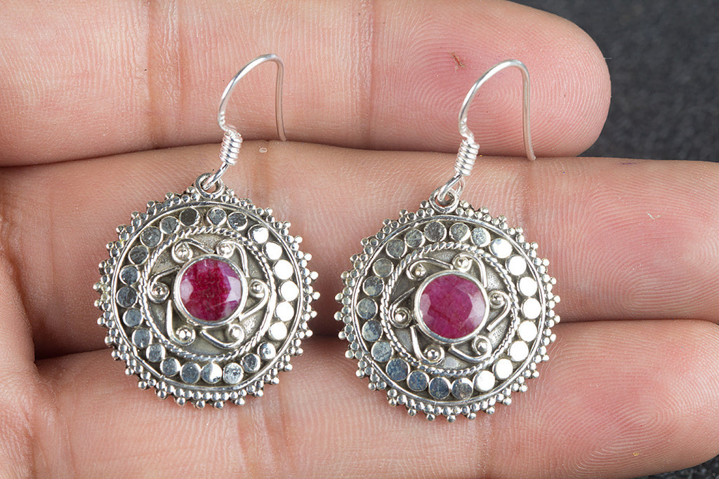 Amazing Ruby Gemstone Handmade 925 Sterling Silver Earring