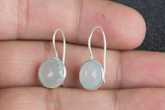 Rare Faceted Aqua Chalcedony Gemstone Handmade 925 Sterling Silver Earring