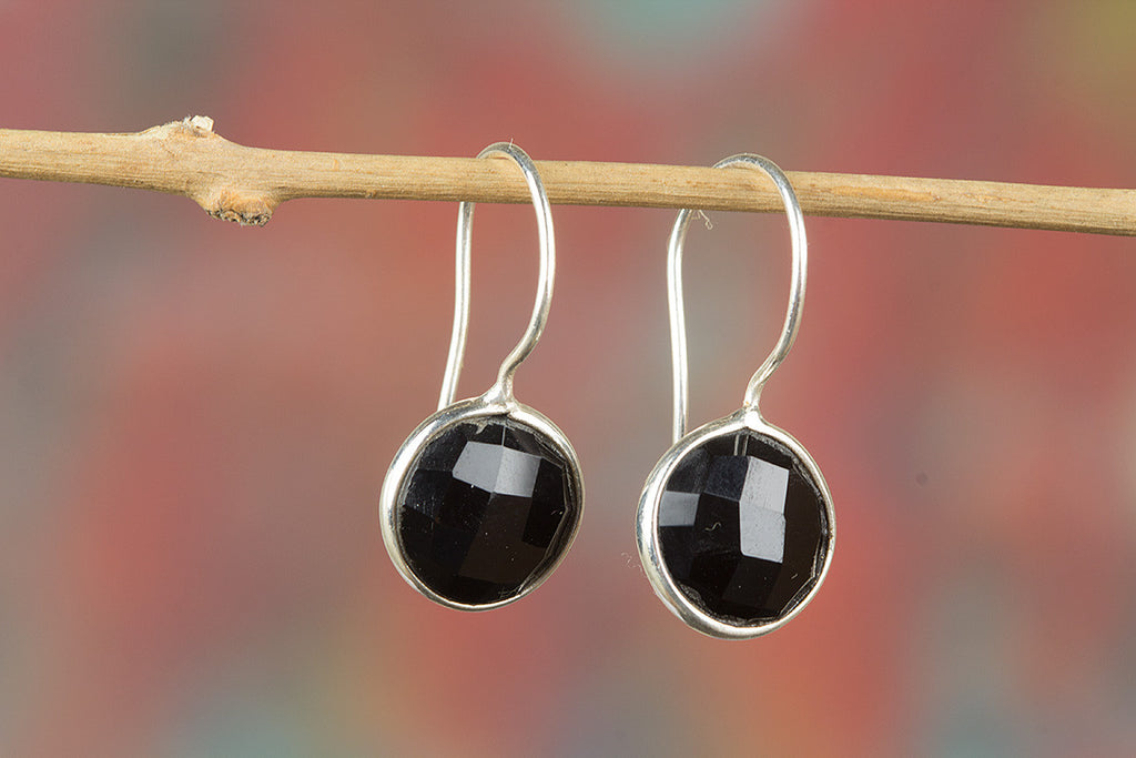 Faceted Black Onyx Gemstone 925 Silver Earring