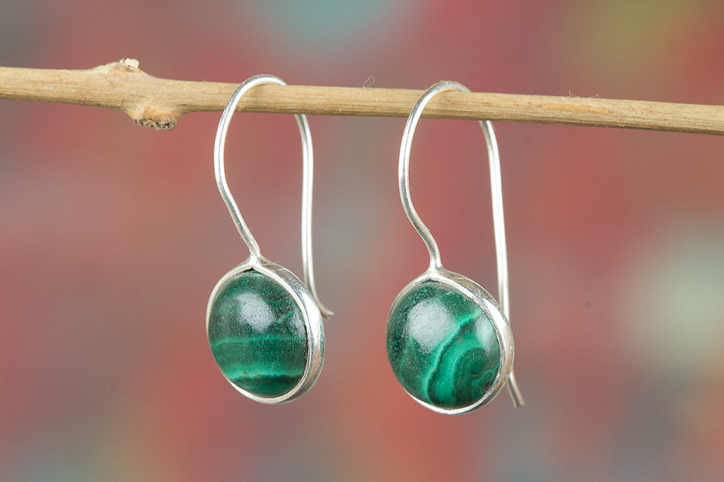 Awesome Malachite Gemstone Handmade 925 Sterling Silver Earring