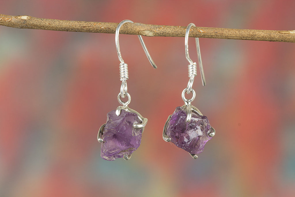 Faceted Amethyst Rough Gemstone 925 Silver Earring