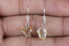 Citrine Cut Rough 925 Sterling Silver Earring