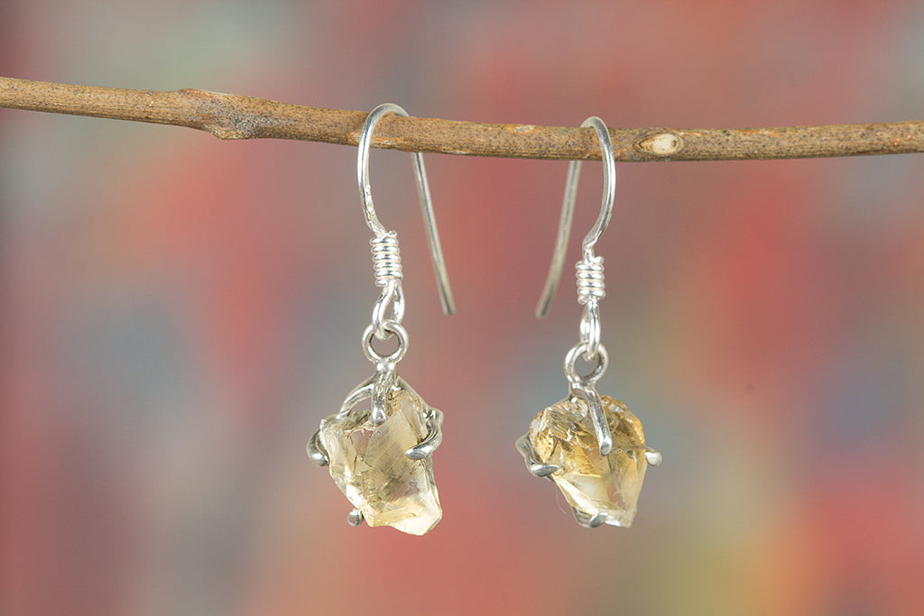 Faceted Citrine Rough Gemstone 925 Silver Earring