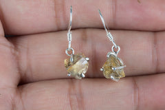 Faceted Citrine RoughGemstone 925 Silver Earring