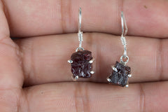 Faceted Garnet Rough Gemstone 925 Silver Earring
