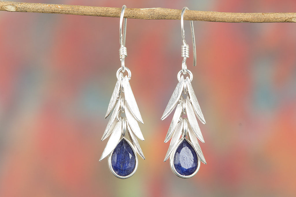 Awesome Sapphire Gemstone Handmade 925 Sterling Silver Earring