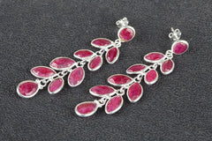 Awesome Ruby Gemstone Handmade 925 Sterling Silver Earring