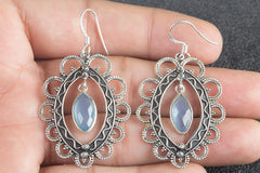 Handmade Faceted Blue Chalcedony Gemstone 925 Sterling Silver Earring