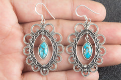 Handmade Blue Copper Turquoise Gemstone 925 Sterling Silver Earring