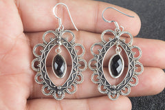 Handmade Faceted Black Onyx Gemstone 925 Sterling Silver Earring