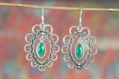 Handmade Faceted Green Onyx Gemstone 925 Sterling Silver Earring