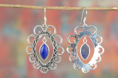 Awesome Handmade Lapis Lazuli Gemstone 925 Sterling Silver Earring