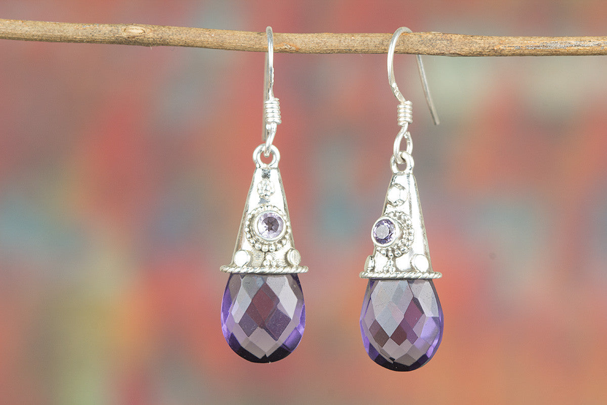 Amazing Handmade Faceted Amethyst Lab Gemstone 925 Silver Earring