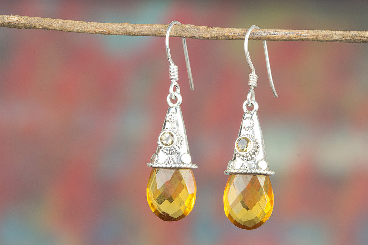 Awesome Handmade Faceted Citrine Lab Gemstone 925 Silver Earring