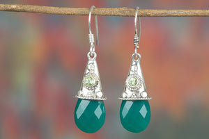 Lovely Handmade Faceted Green Onyx Gemstone 925 Silver Earring