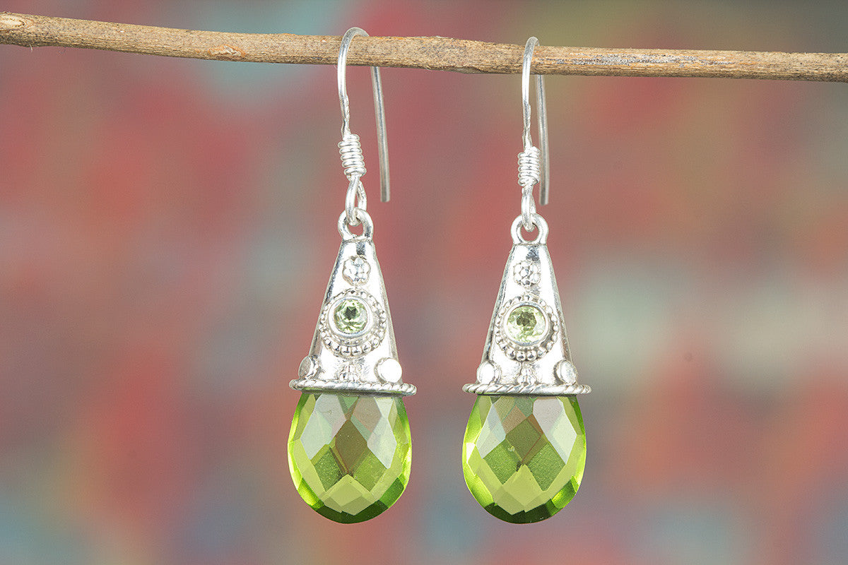 Faceted Peridot Lab Gemstone 925 Silver Earring