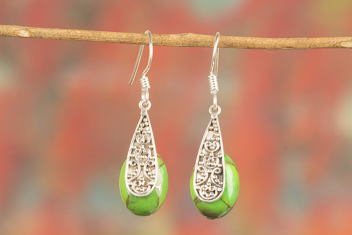 Awesome Handmade Green Turquoise Gemstone 925 Silver Earring