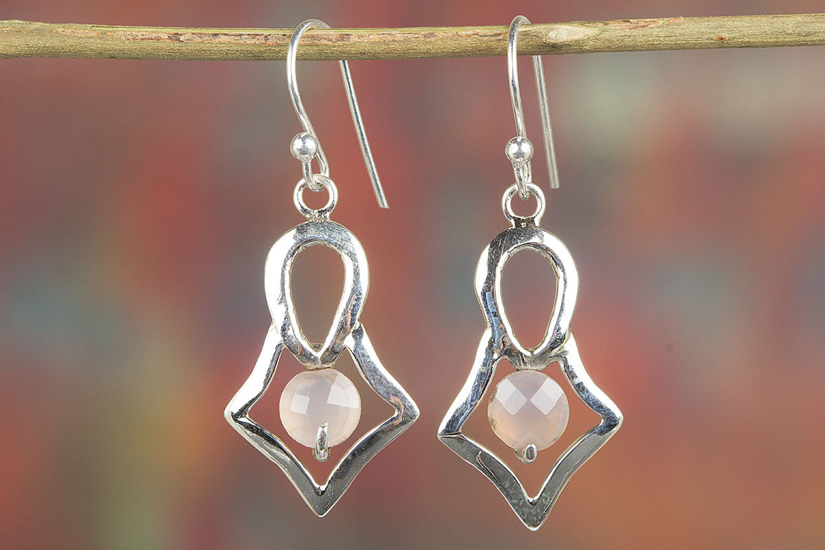 Lovely Handmade Faceted Rose Quartz Gemstone 925 Silver Earring