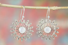Sun Shape Faceted Rainbow Moonstone 925 Silver Earring