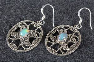 Beautiful Ethopian Opal Earrings In Sterling Silver