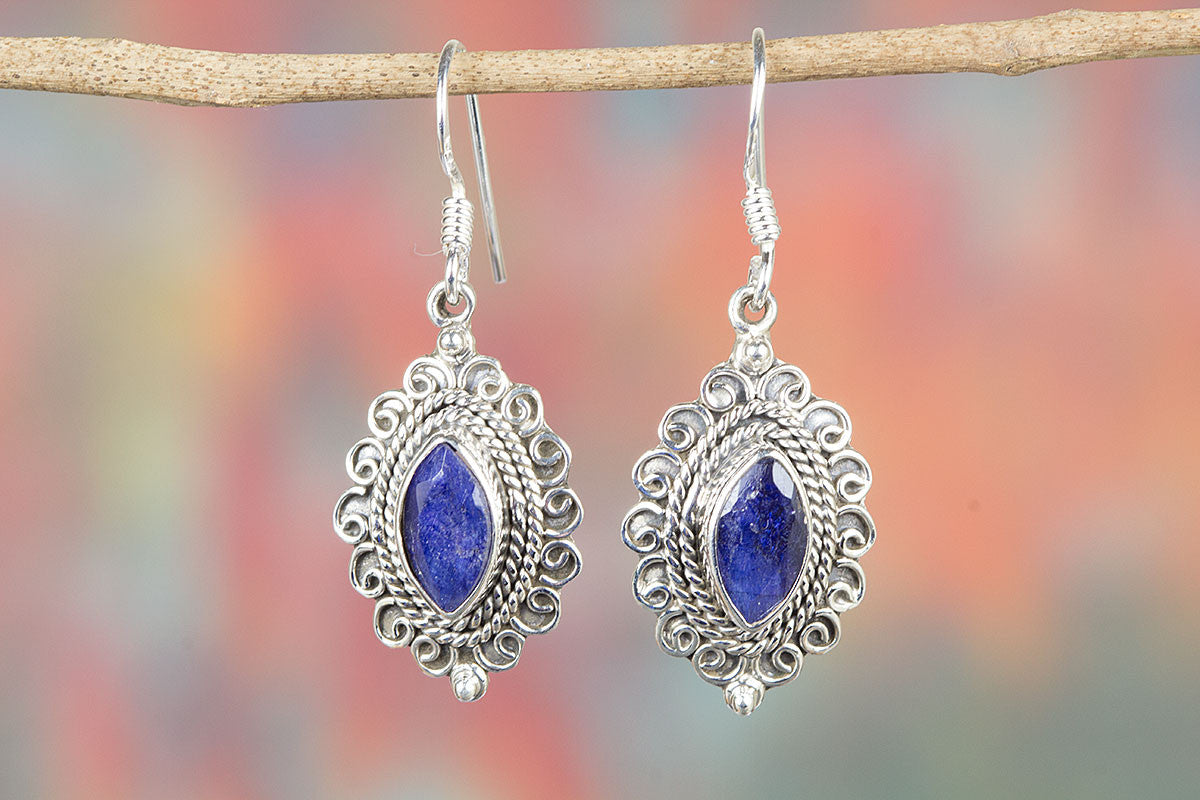 Precious Sapphire 925 Silver Chandelier Earrings