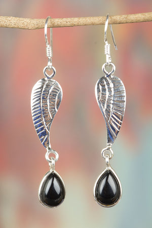 Black Onyx with 925 Silver Leaf Earrings