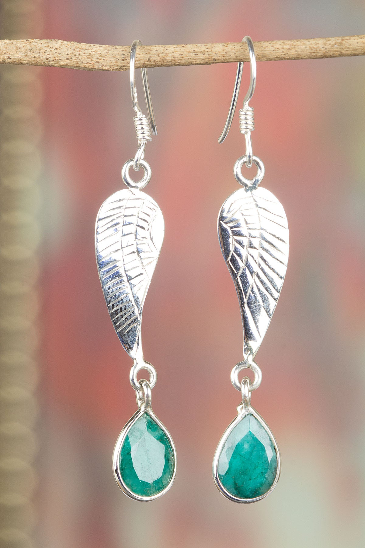 Emerald with 925 Silver Leaf Earrings