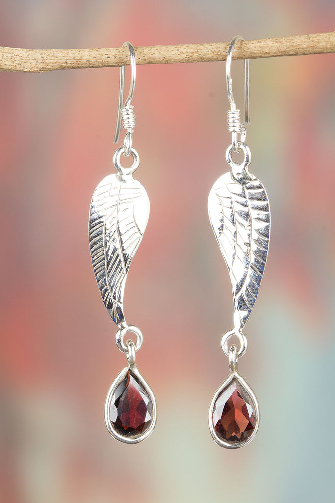 Faceted Garnet with 925 Silver Leaf Earrings