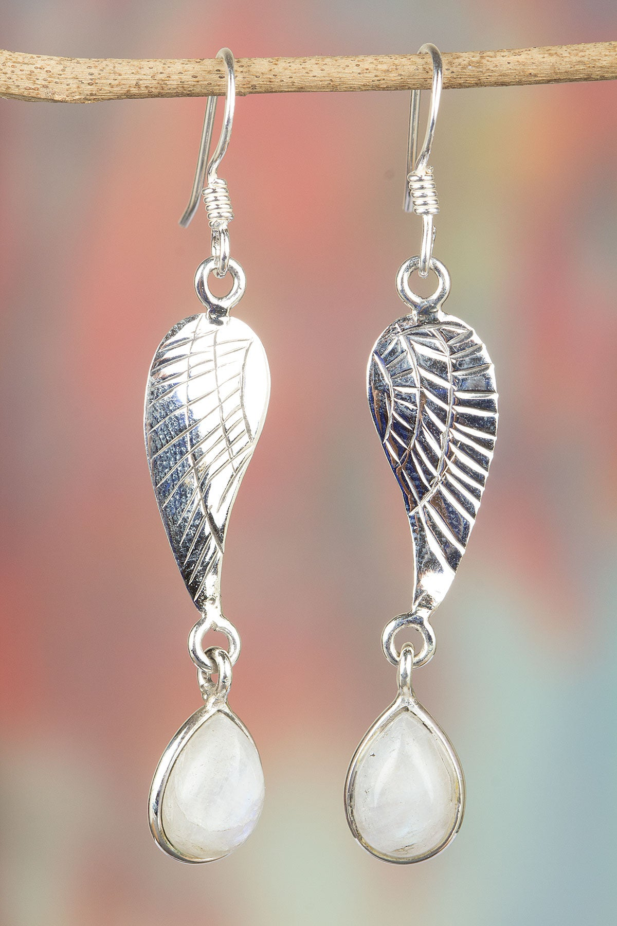 Rainbow Moonstone with 925 Silver Leaf Earrings