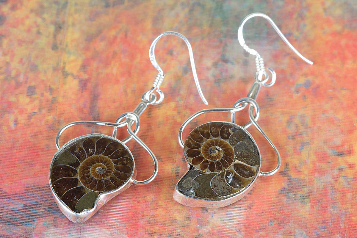 Charming Ammonite Gemstone & Pure 925 Sterling Silver Earrings