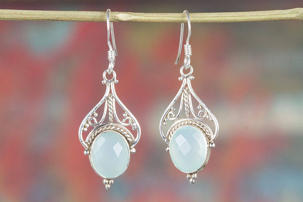 Beautiful Handmade Faceted Aqua Chalcedony Gemstone 925 Silver Earring
