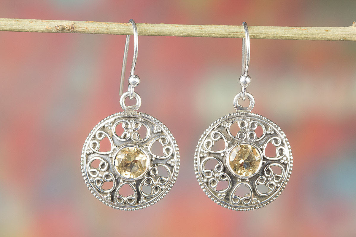 Amazing 925 Sterling Silver Citrine Gemstone Earring,