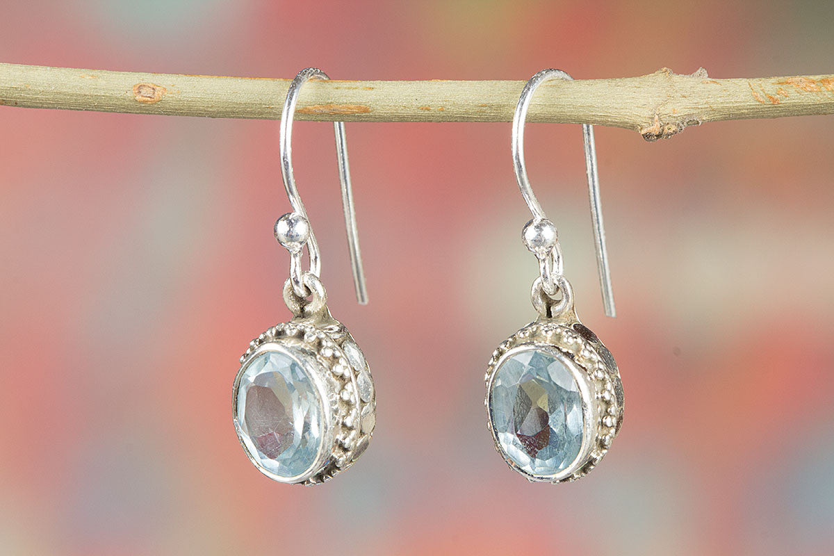 Blue Topaz Earring, Sterling Silver Earring, Blue Topaz Jewelry, Blue Silver Earring, Bohemian Earring, Gypsy Earring, Handcraft Earring,