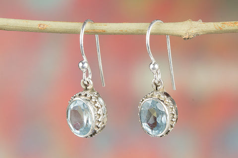 100% Genuine Blue Topaz Gemstone Earrings In Sterling Silver
