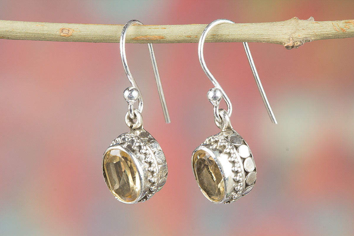 Amazing Faceted Citrine Gemstone Silver Earring