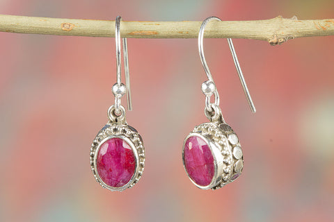 100% Genuine Ruby Earrings In 925 Sterling Silver