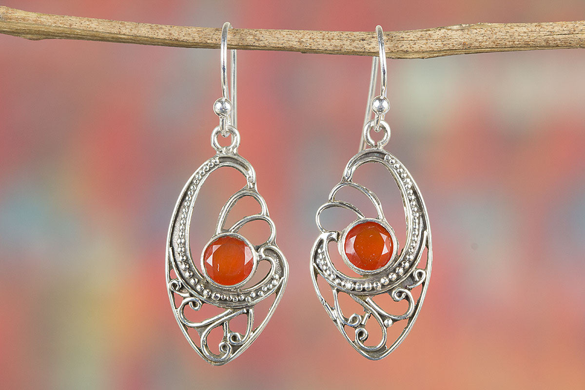 Amazing Faceted Carnelian Gemstone Silver Earring