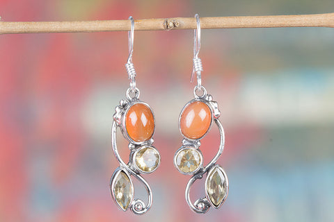100% Pure Carnelian Gemstone Earring In Sterling Silver