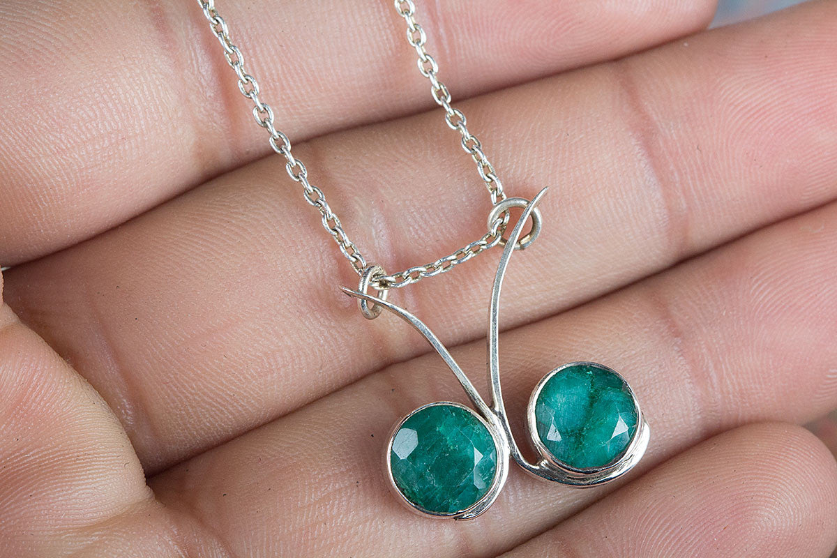 Emerald Necklace, Sterling Silver Necklace, May Birthstone Necklace, Green Stone Jewelry, Bohemian Necklace,  Bohemian Necklace,  Promise Necklace, Handmade Jewelry, Gypsy Necklace,