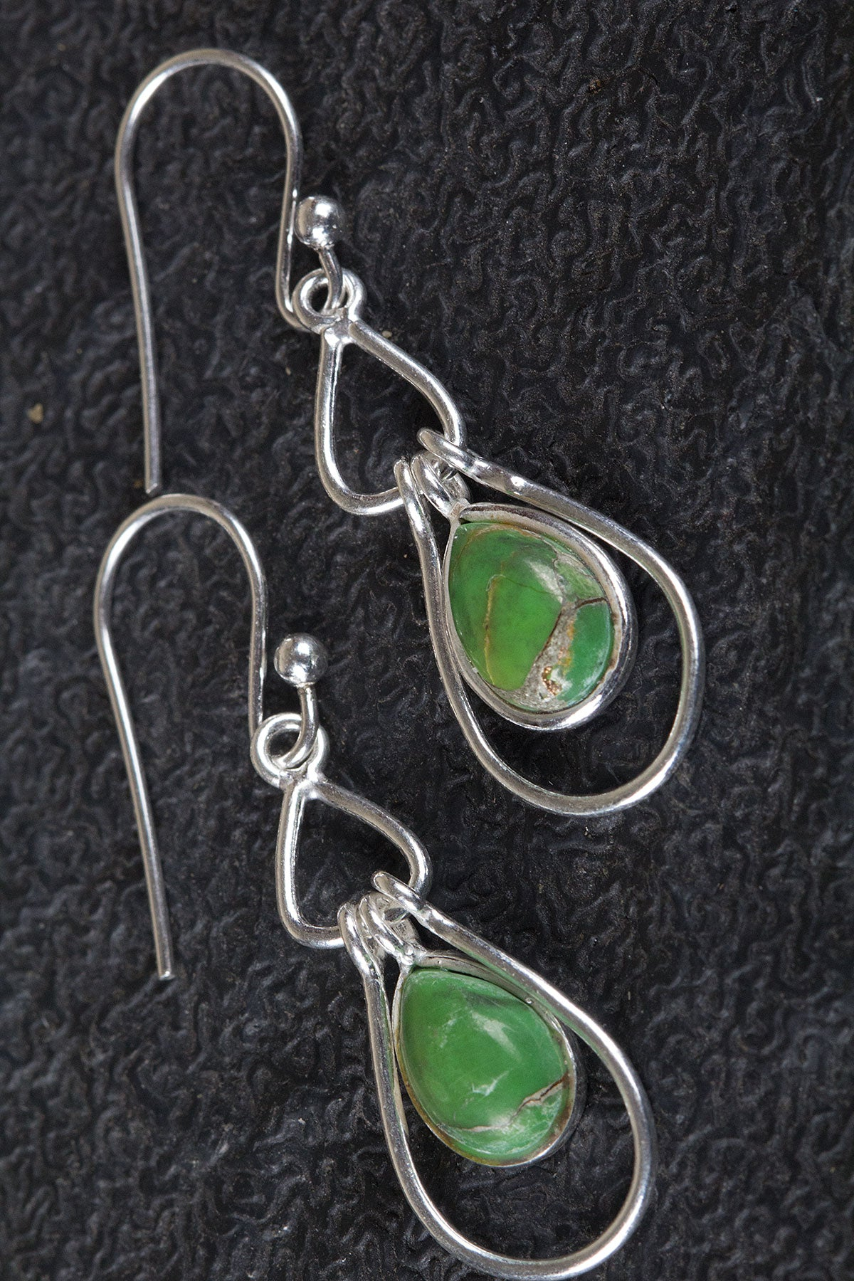 925 Sterling Silver Green Turquoise Gemstone Earring