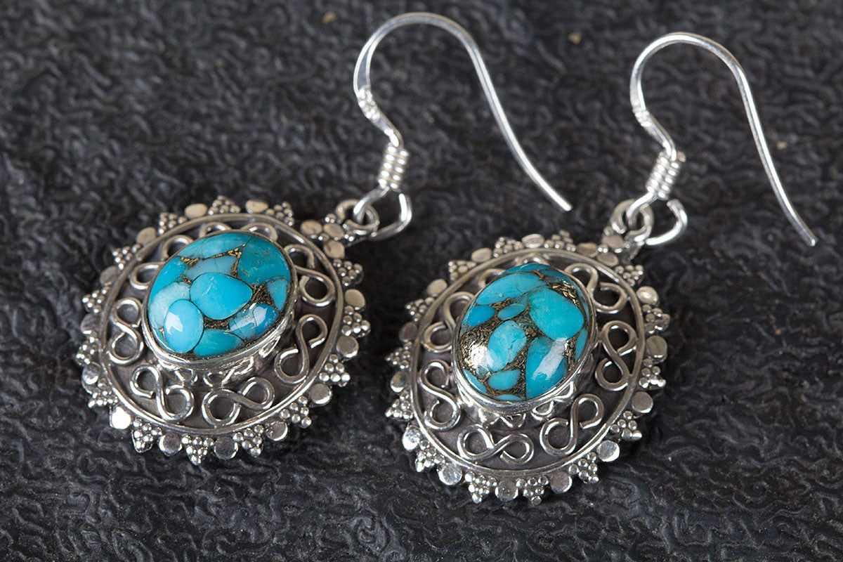 Blue Copper Turquoise Earring , Turquoise Earrings, Blue Stone Earring, Birthstone Earring, Silver Earring, Bohemian Earring, Promise Earring, Handmade Jewelry,