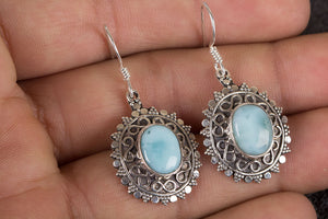 Larimar Earring, Sterling Silver Earring, Larimar Jewelry, Sky Blue Stone Earring, Boho Earring, March Birthstone Earring, Silver Earring, Bohemian Earring, Gift Earrings,
