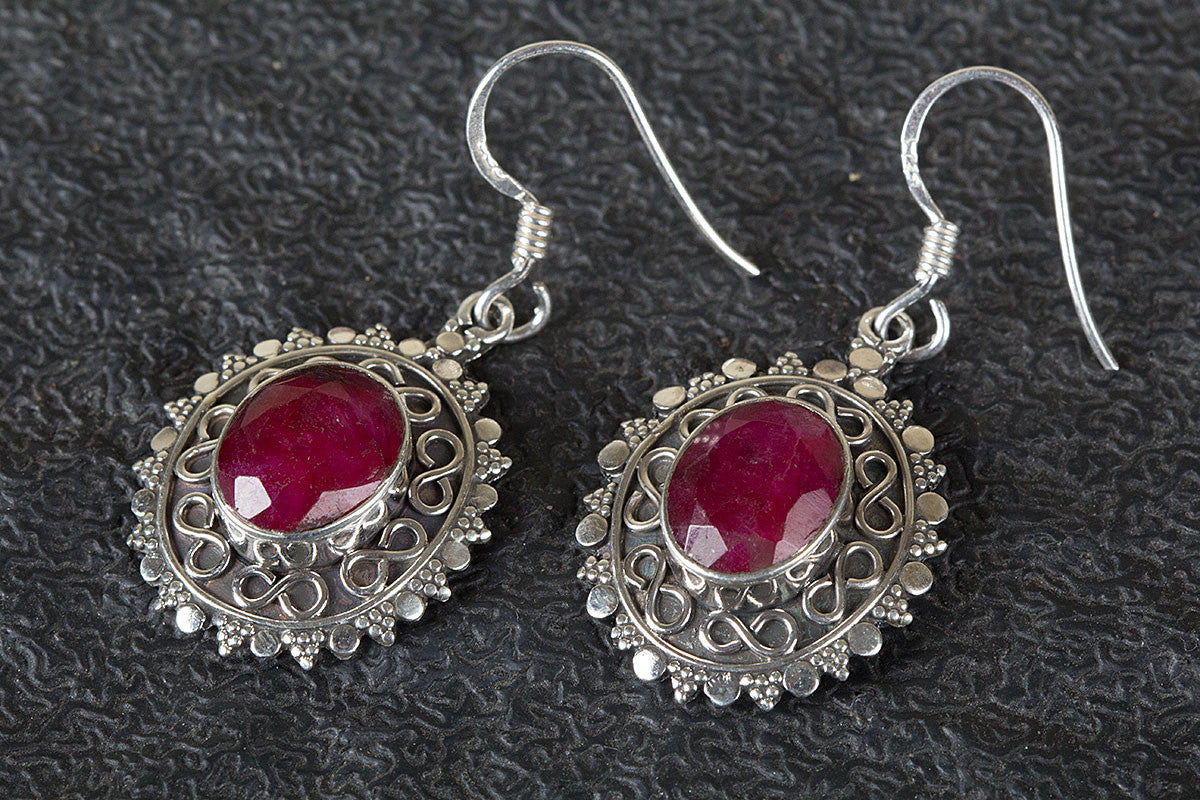 925 Sterling Silver Ruby Gemstone Earring,