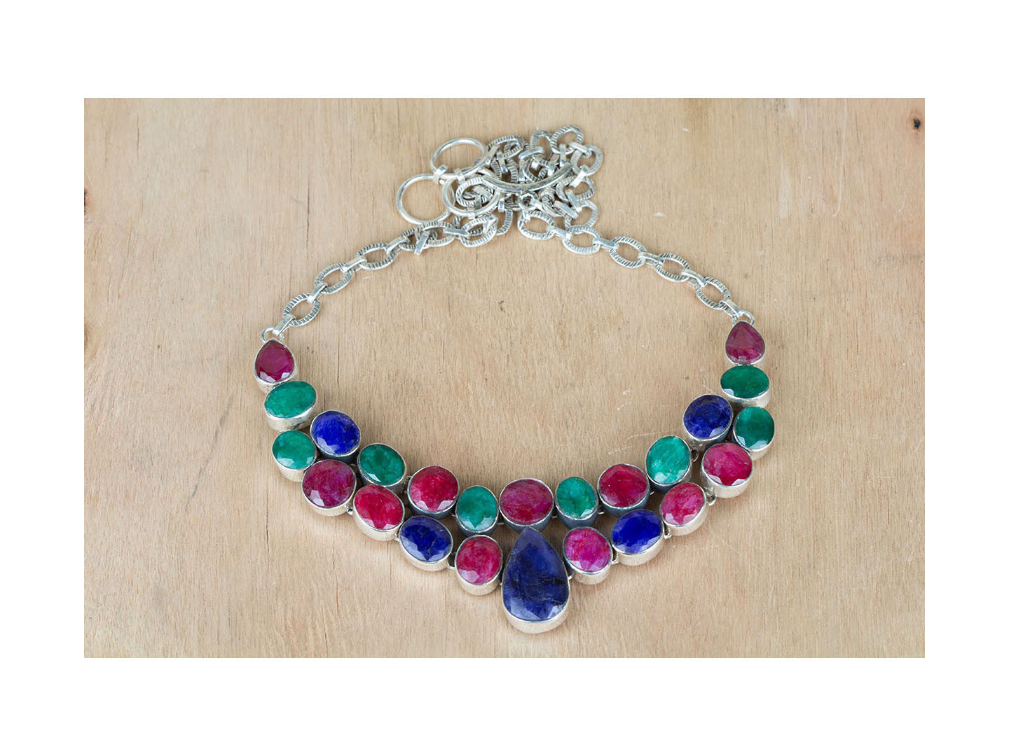 Sensational Ruby Emerald & Sapphire Necklace In Sterling Silver