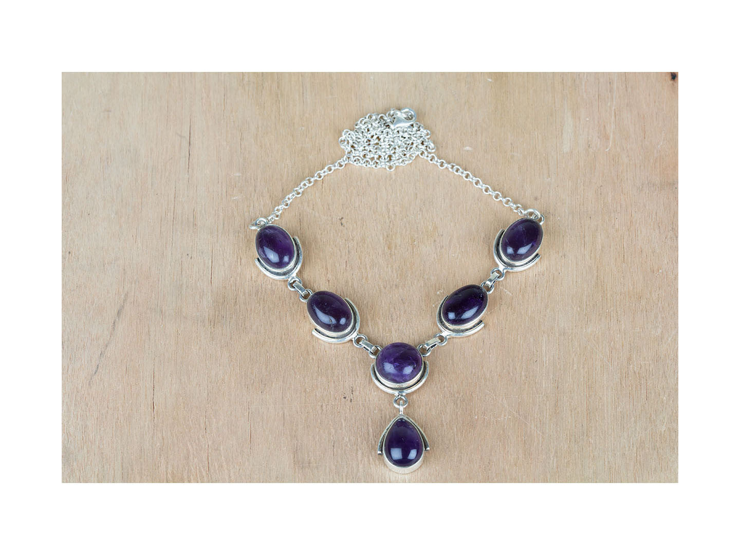 Purple Handmade Amethyst Gemstone 925 Silver Necklace