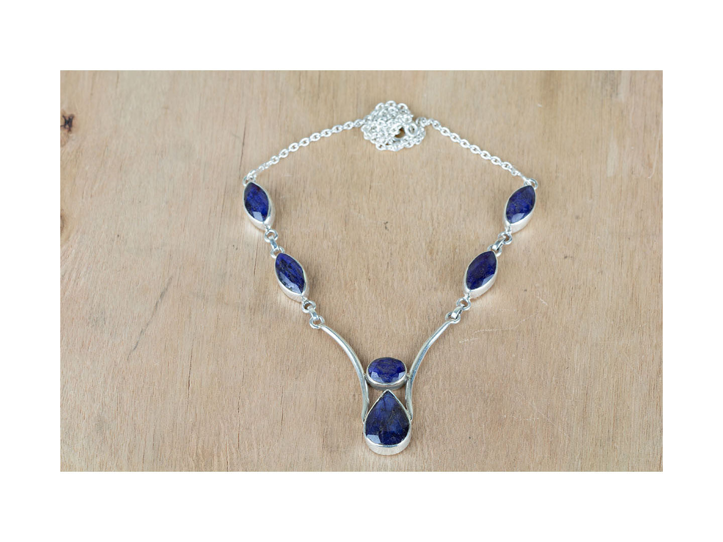 Exclusive Sapphire Necklace Set In Sterling Silver