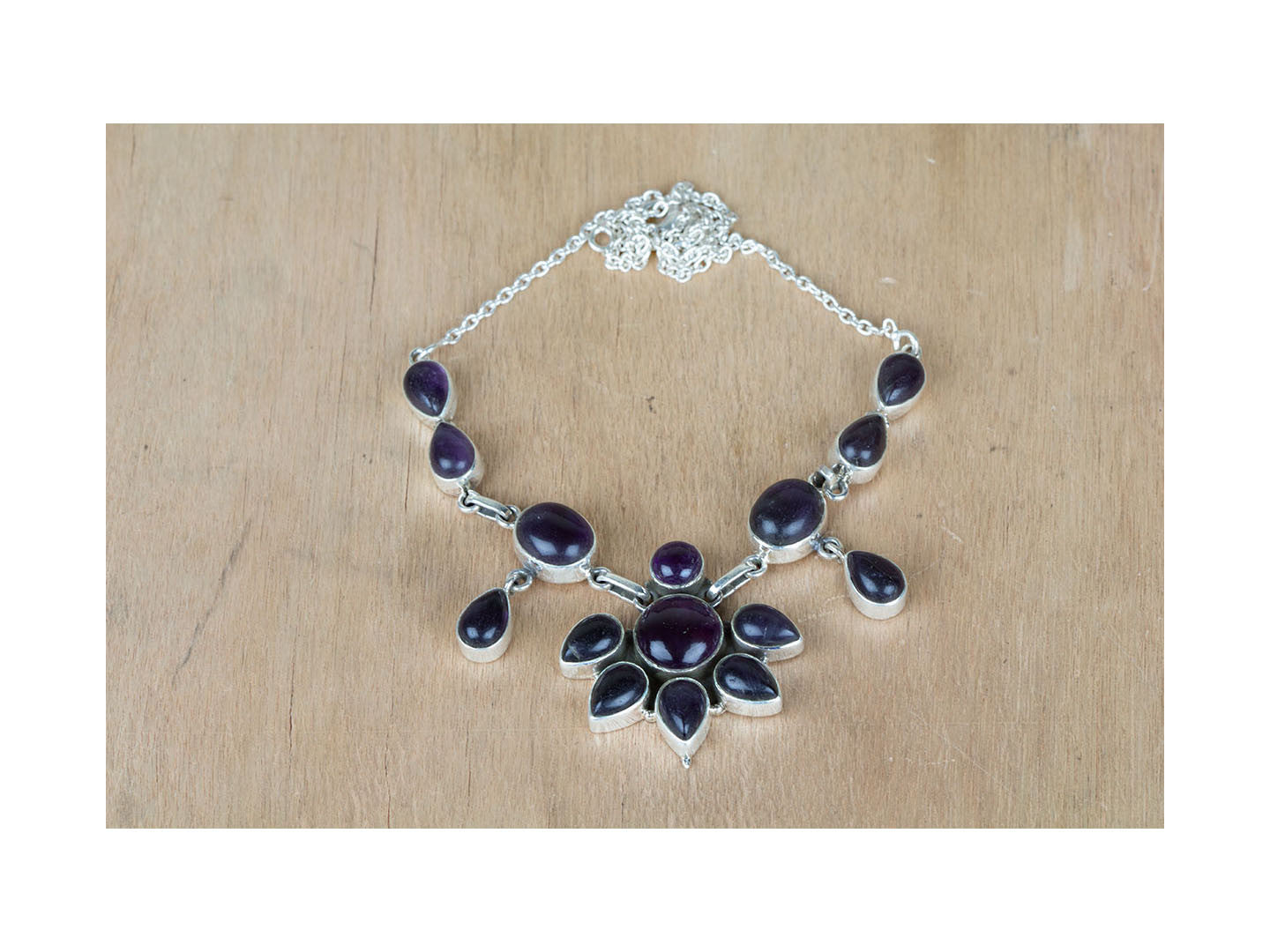 Latest Handmade Amethyst Gemstone 925 Silver Sterling Necklace