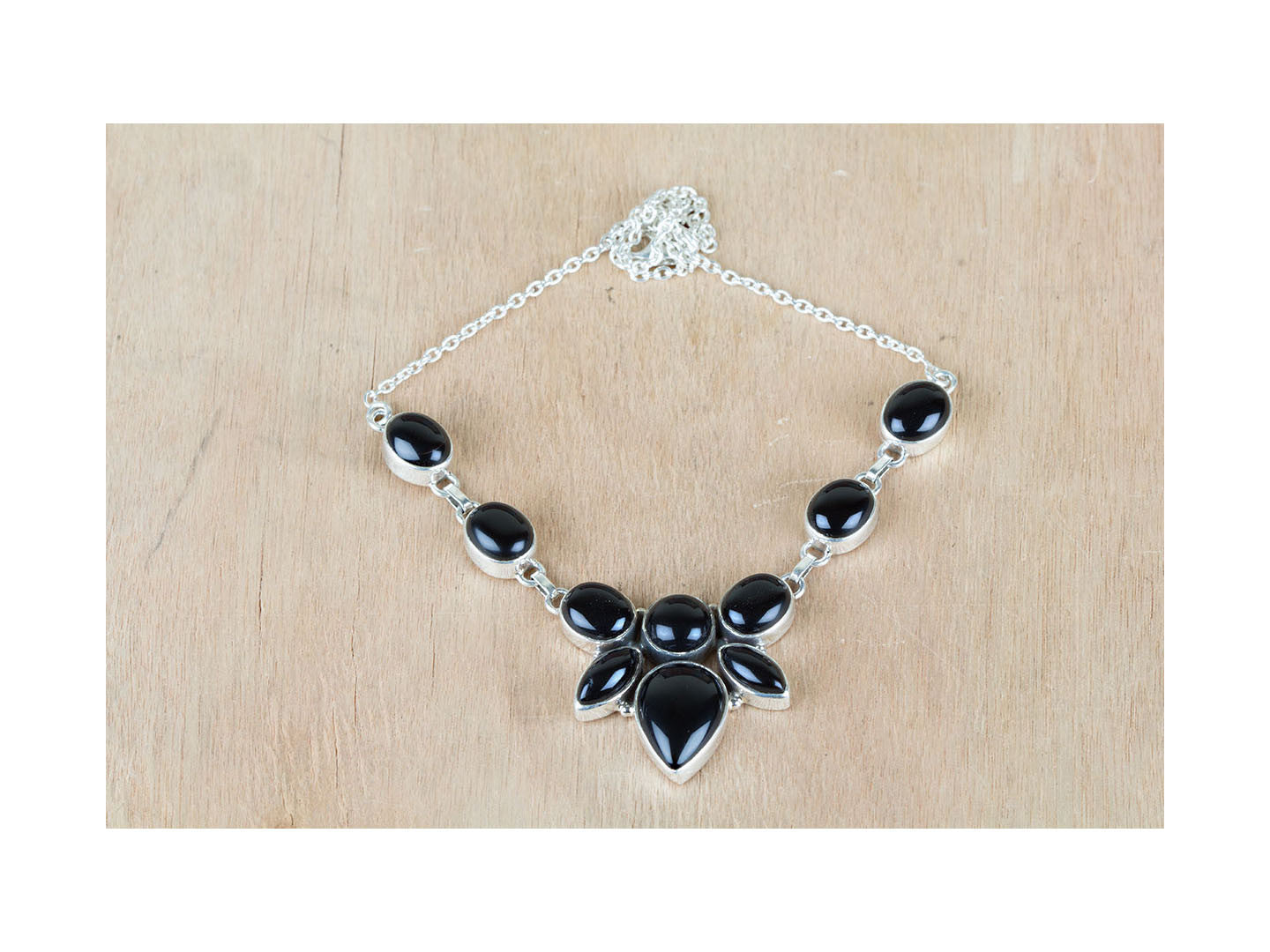 On Sale Authentic Black Onyx 925 Silver Necklace