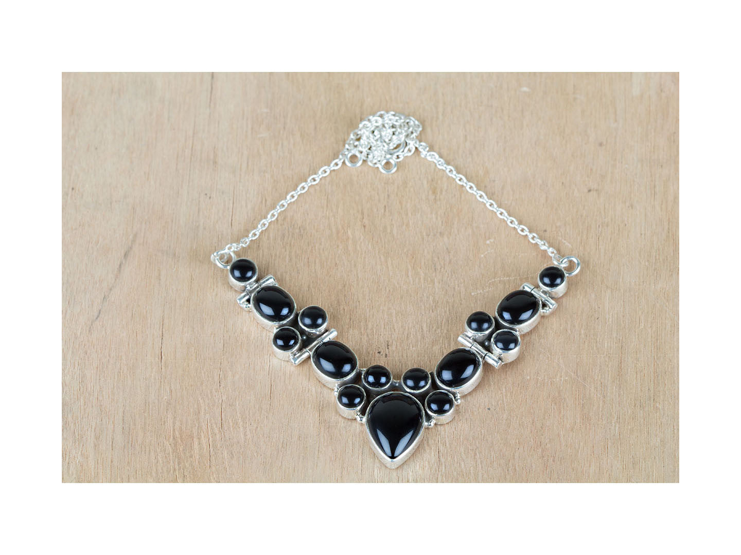 Natural Black Onyx Necklace In Sterling Silver