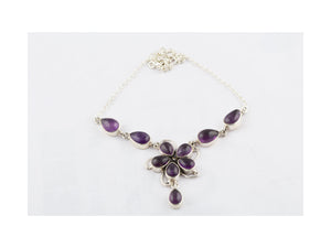 Authentic Purple Amethyst Necklace In Sterling Silver